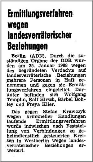 """Aus dem """"Neuen Deutschland"""", der zentralen Tageszeitung der SED."""